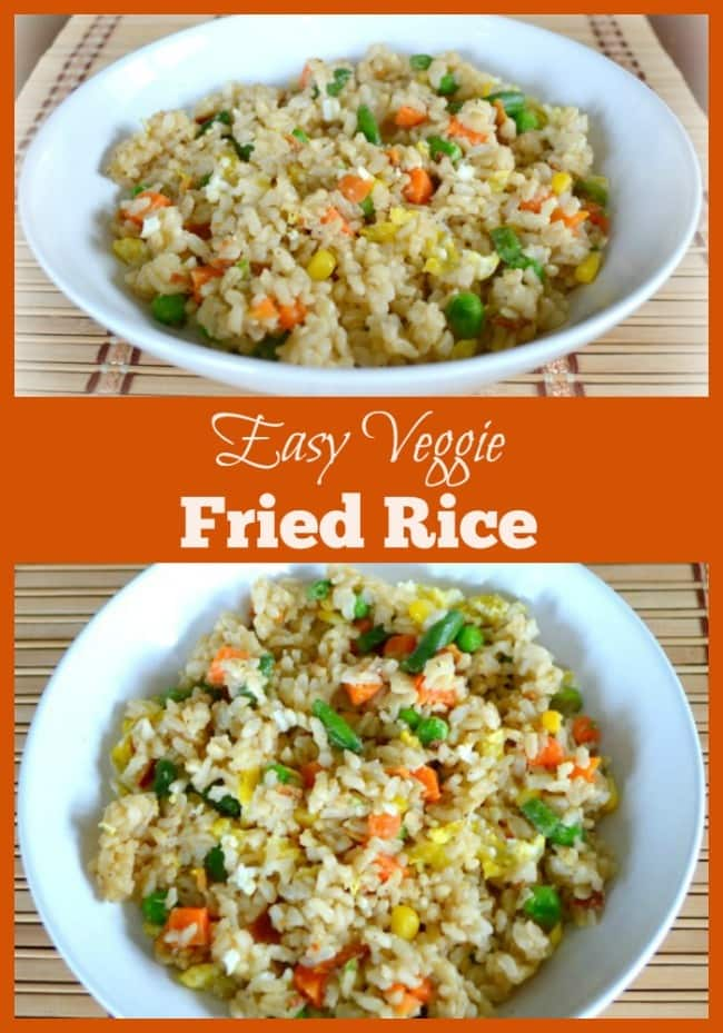 This easy veggie fried rice is full of whole grains and vegetables. If you add some egg and bacon for protein, it's a well-balanced meal all in one bowl! #friedrice #wholegrains #vegetables #veggiefriedrice via @wondermomwannab