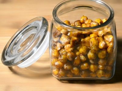 Honey Roasted Chickpeas in glass jar
