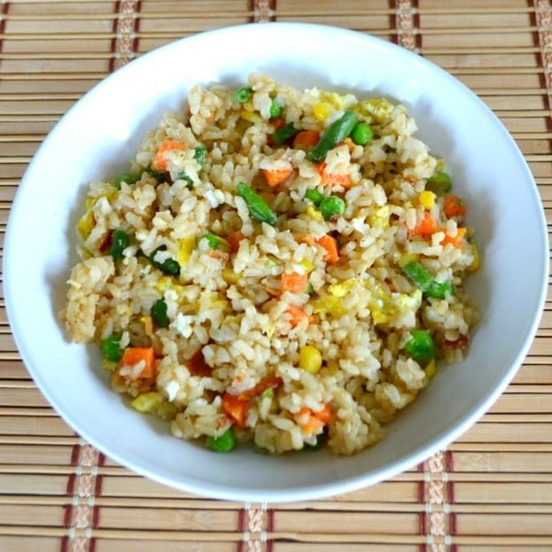 Just a few simple ingredients are needed to make this Easy Veggie Fried Rice