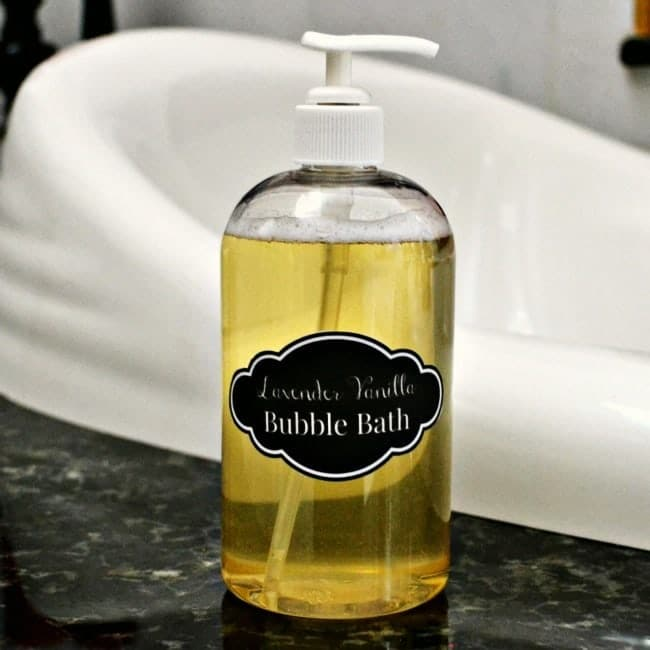 lavender vanilla bubble bath in a pump bottle on a bathroom counter