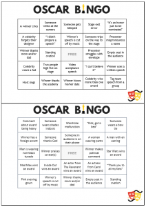 Oscar Party Bingo