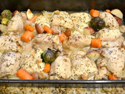 Oven Roasted Chicken and Vegetables in baking dish