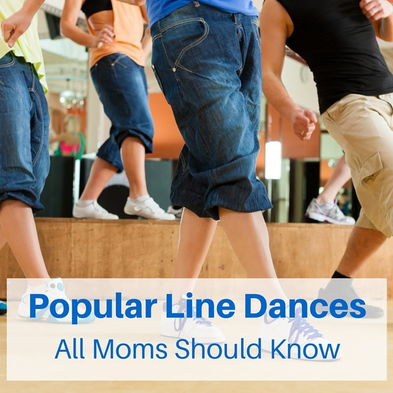 a group of people dancing with title text reading popular line dances that all moms should know