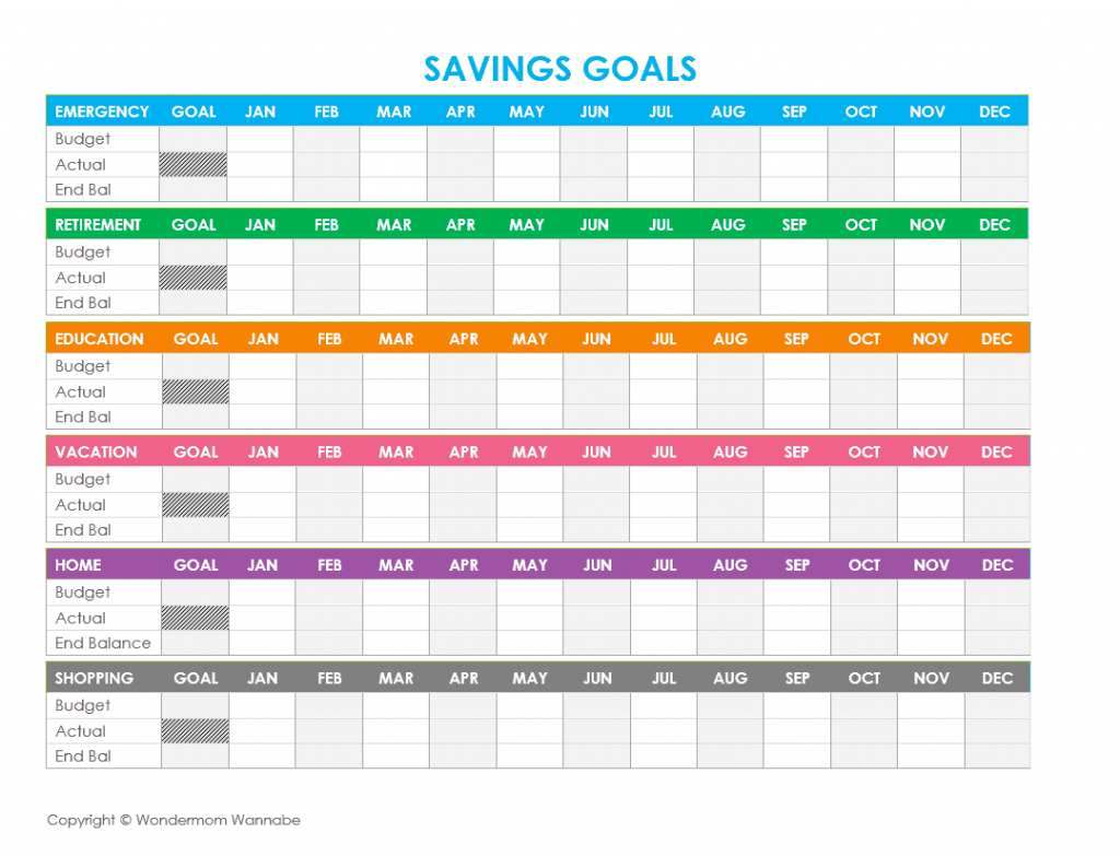 Worksheets Financial Goal Setting Worksheet free printable family budget worksheets track your progress over the course of year hopefully ending balance in december matches goal