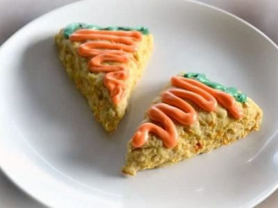 Carrot cake scones on white plate