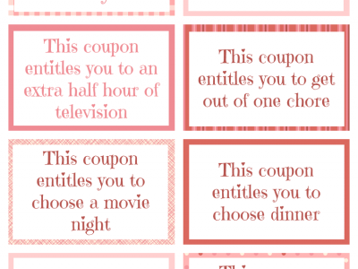 Printable Valentine Coupon Book filled