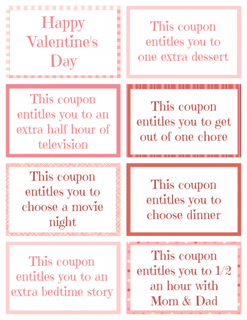 Printable Valentine Coupon Book  Free Coupon Book Template