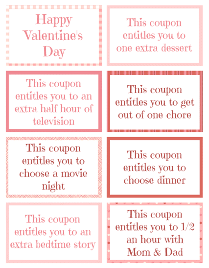 Printable Valentine Coupon Book Pre Filled