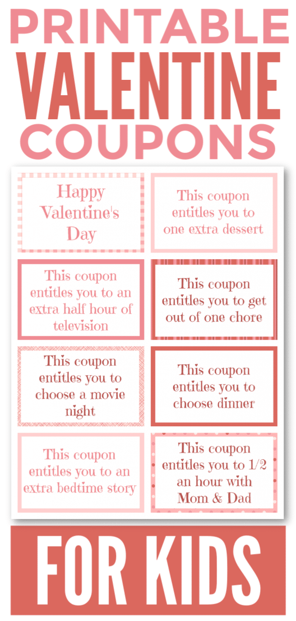 This Printable Valentine Coupon Book for Kids is a fun and easy way to show your love for children. Even better, it won't cause cavities! #valentinesday #forkids #printable #couponbook via @wondermomwannab