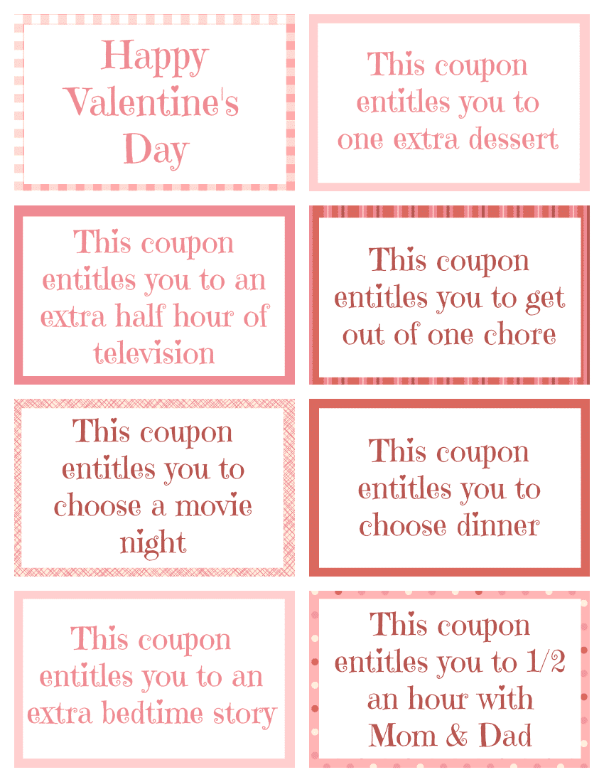romantic coupon book template - printable valentine coupon book for kids