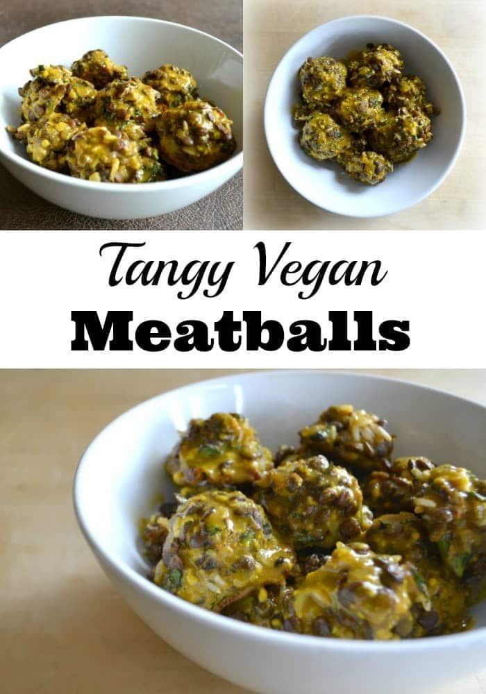 These tangy vegan meatballs are made with lentils instead of meat, chock full of other nutritious ingredients, and topped with a flavorful mustard sauce. #vegan #meatballs #lentils via @wondermomwannab
