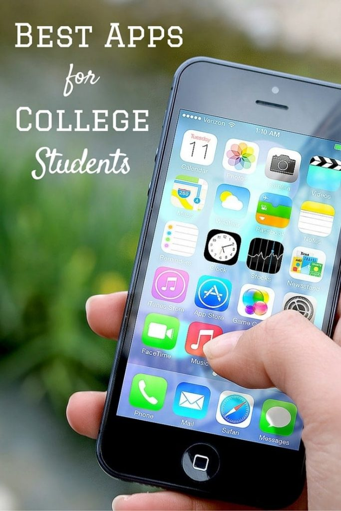 a person holding a cell phone with lots of apps on the screen with title text reading Best Apps for College Students