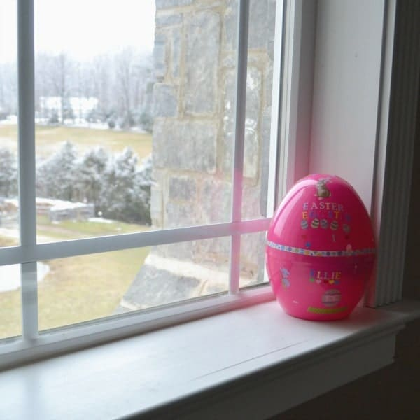 Easter egg on a window sill