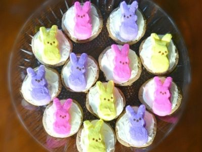 Easter Peep Cookies on clear platter