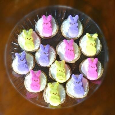 Easter Peep Cookies on clear platter