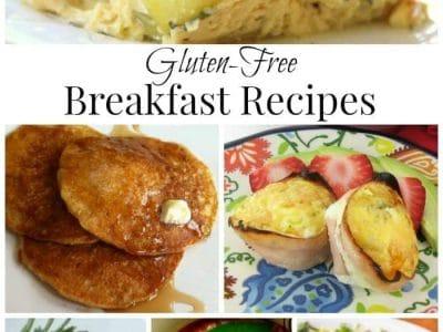 Collage of gluten free breakfast recipes