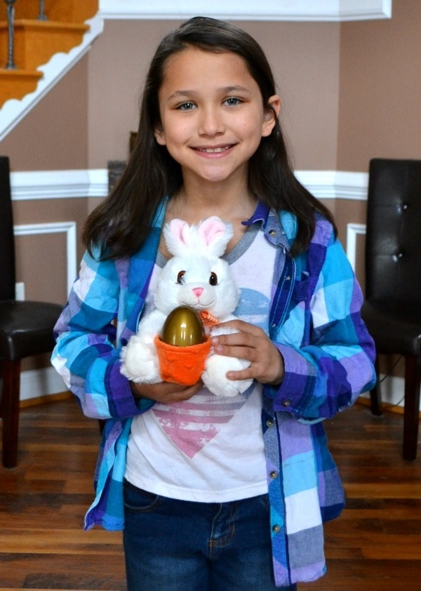 My daughter with the bunny with the basket
