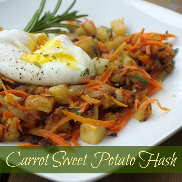 carrot sweet potato hash on a white plate with title text reading Carrot Sweet Potato Hash