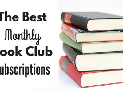 "Stack of 5 books. ""The best monthly book club subscriptions"""