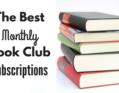 """Stack of 5 books. """"The best monthly book club subscriptions"""""""
