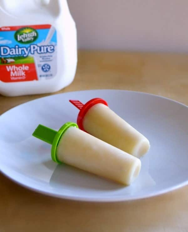 The orange banana creamsicles are an easy and nutritious treat for hot, sunny days.