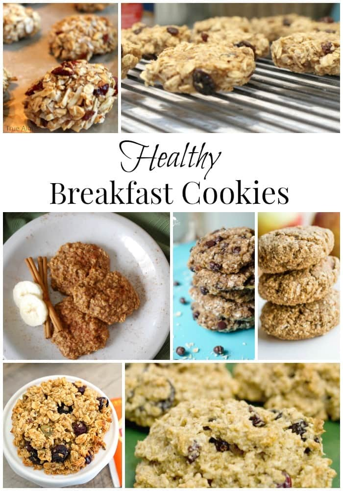 a collage of seven different cookies with title text reading Healthy Breakfast Cookies