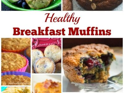 Collage of breakfast muffins
