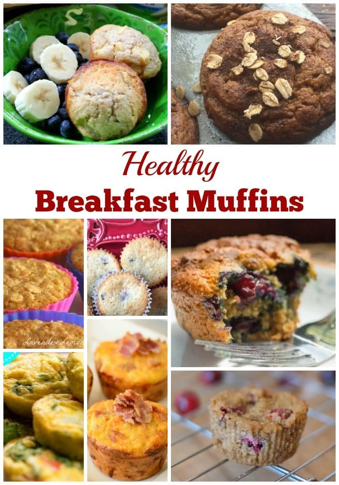 a collage of eight different muffins with title text reading Healthy Breakfast Muffins