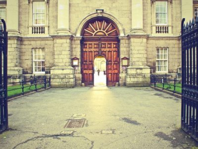 Gate opened to a grand building
