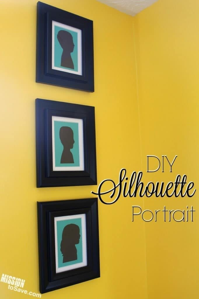 three framed silhouettes on a yellow wall with title text reading DIY Silhouette Portrait