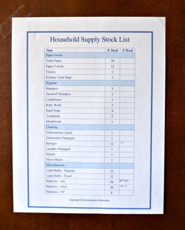 Household Supply List Close-Up