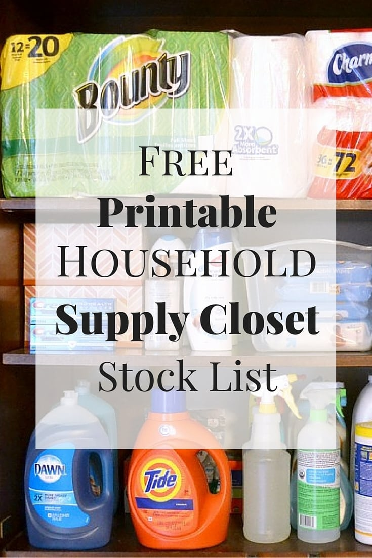 Getting in the habit of stocking up on household items, will save money. This free printable household supply closet stock list will help! #freeprintable #savemoney #householdsupplycloset #householdtips via @wondermomwannab