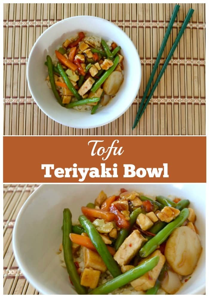 a collage of a tofu teriyaki bowl on a bamboo mat next to green chopsticks with title text reading Tofu Teriyaki Bowl