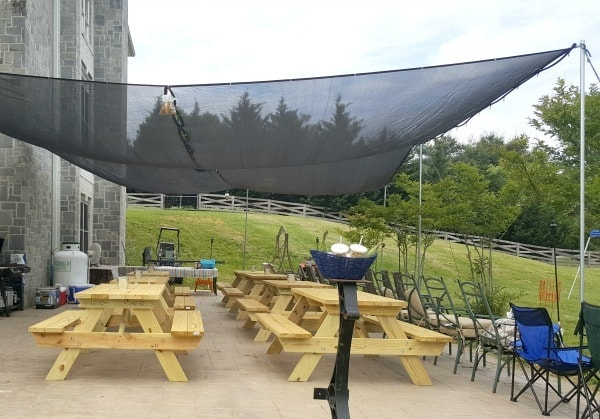 A mesh canopy is a great way to provide shade without trapping heat