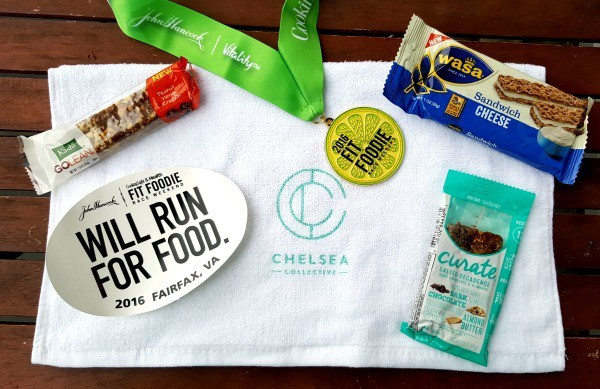 nutrition bars, crackers, medal, towel and sticker