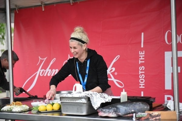 healthy meal prep demonstration after the race