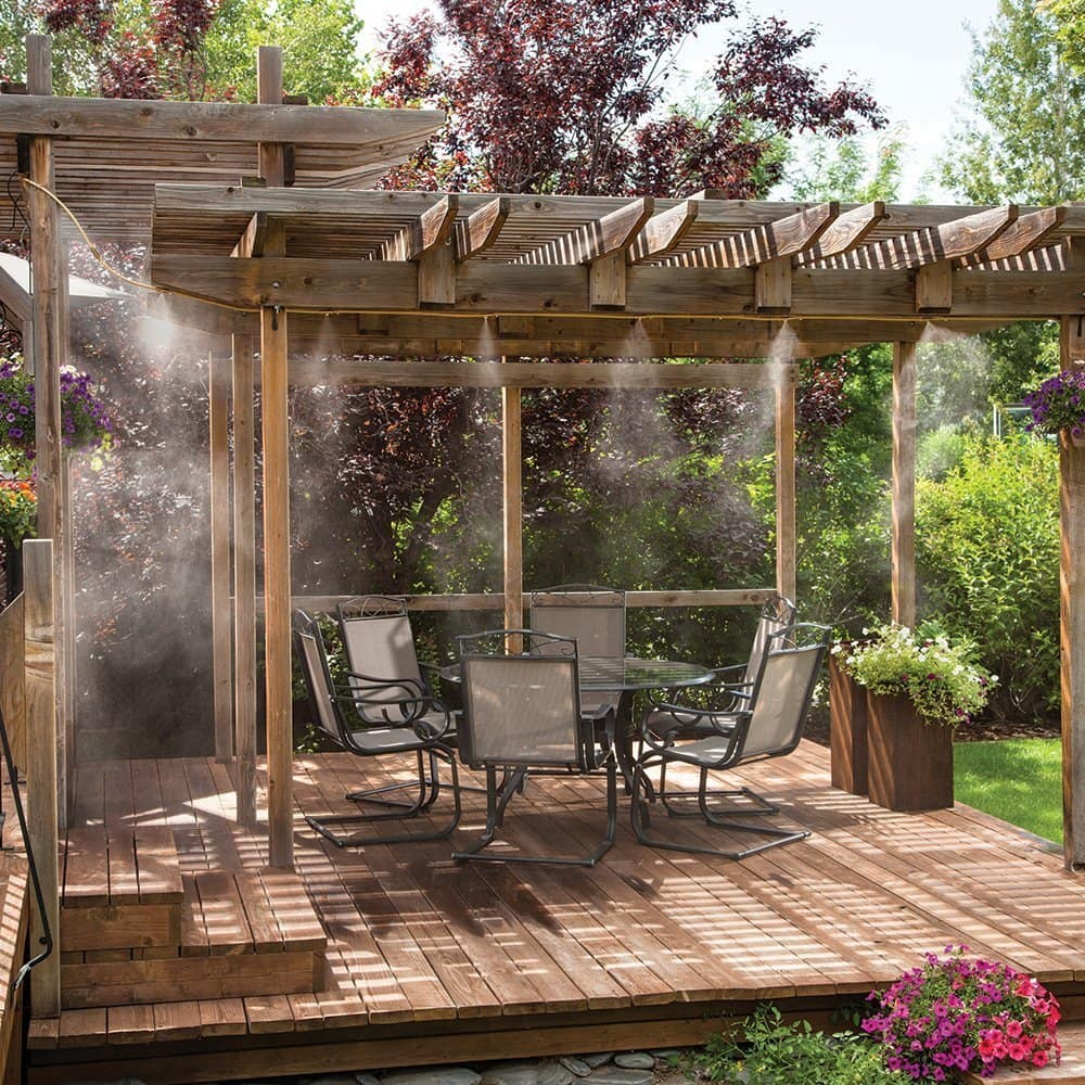 an outdoor patio with a Misting System
