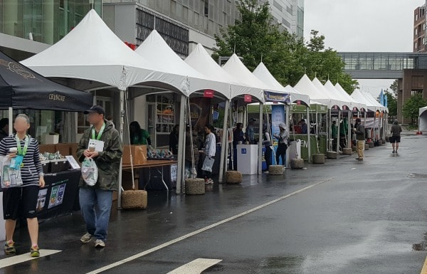 vendors and tents at the end of the race