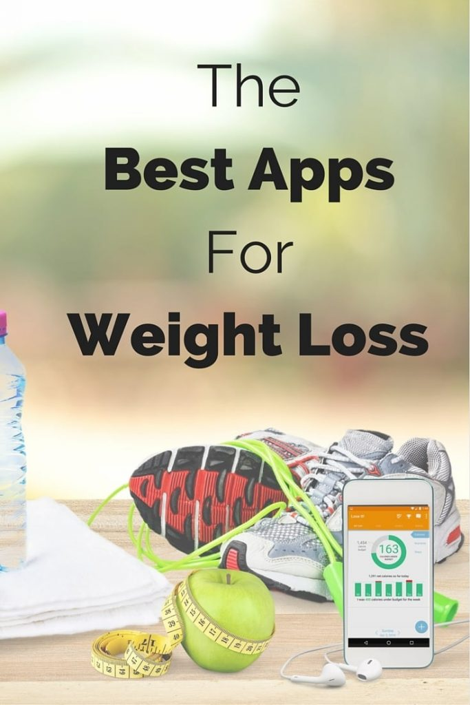 tennis shoes, phone, green apple, measuring tape, notebook, water bottle, all on a wood table with title text reading The Best Apps for Weight Loss