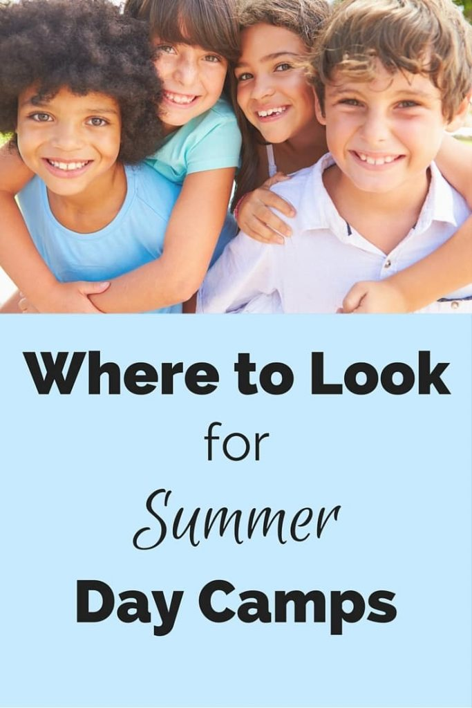 four smiling kids with title text reading Where to Look for Summer Day Camps