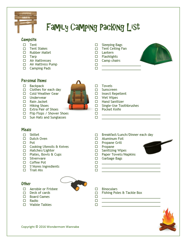 Free printable family camping packing list