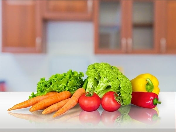 Vegetables on a kitchen counter
