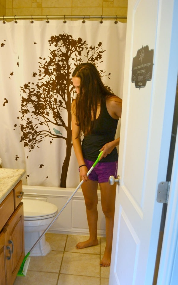 I keep Swiffer Sweepers conveniently located to encourage my kids to keep their floors clean