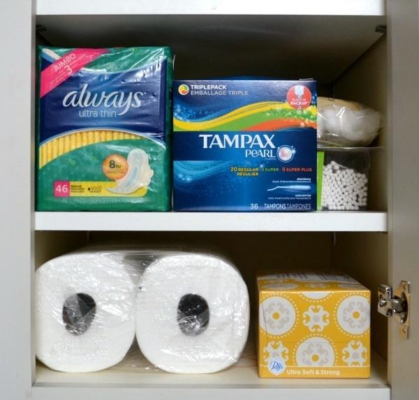 personal hygiene essentials in a cabinet