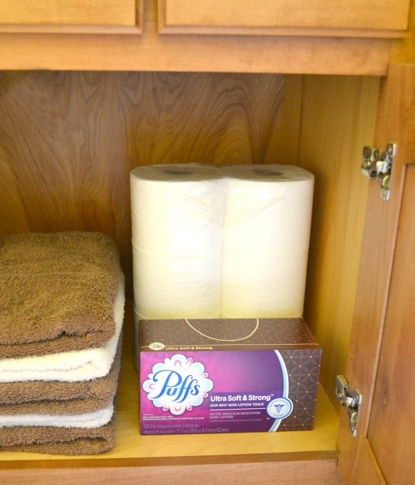 I keep all of our bathrooms stocked with toilet paper and facial tissues