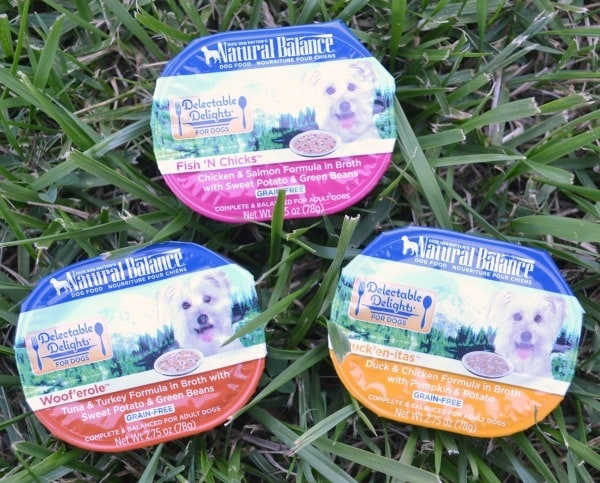 Natural Balance Delectable Delights are grain-free and come in flavors my dogs love