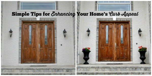 before and after picture of a front porch being decorated for curb appeal with title text reading Simple Tips for Enhancing Your Home's Curb Appeal