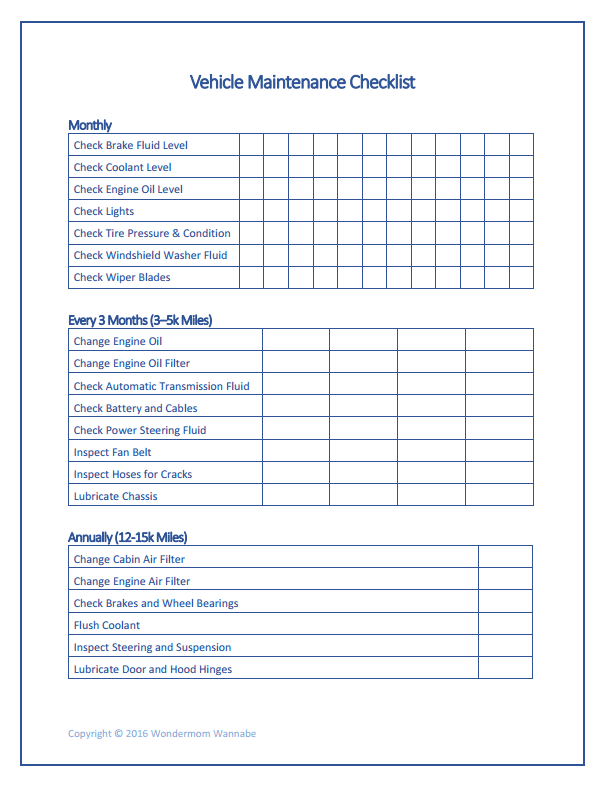 Car Maintenance Checklist >> Free Printable Car Maintenance Checklist