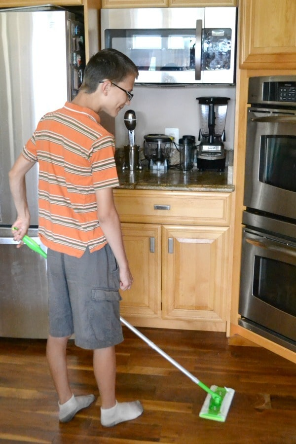 We keep a Swiffer Sweeper in the kitchen to quickly pick up crumbs after dinner