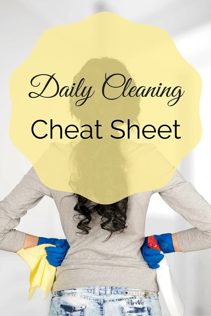a lady wearing cleaning gloves and holding a cloth with text overlay reading Daily Cleaning Cheat Sheet